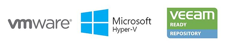 A graphical list of technologies that Neverfail uses for data protection including Hyper-V, VMware and Veeam